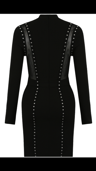 back vie of Black bodycon dress with sheer panels and stud detail - LB Boutique