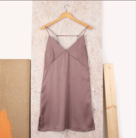 Blush V front Cami dress in satin material - LB Boutique