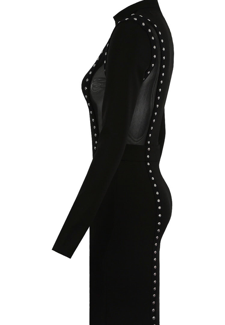 Side view of Black bodycon dress with sheer panels and stud detail - LB Boutique