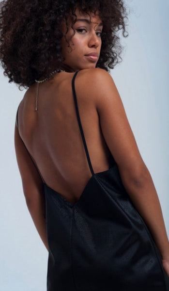Close up back view Lady wearing black Shiny slip dress - LB Boutique