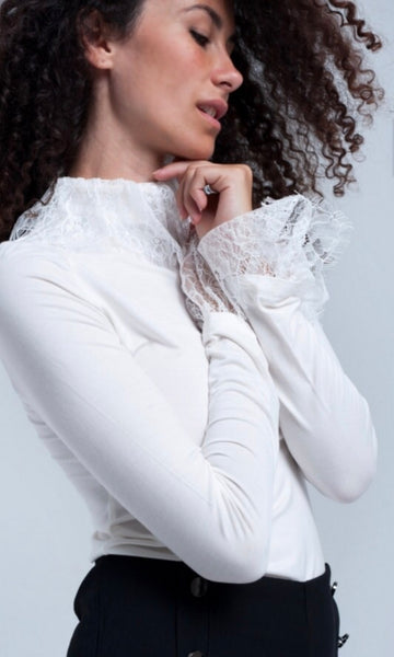 ladyh earing white topwith lace detail at neck and cuffs - LB Boutique