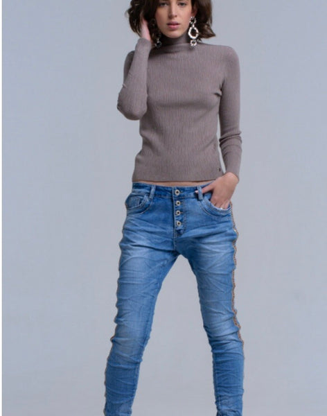 Full length view of Lady wearing stone grey Lurex textures top with high neck - LB Boutique