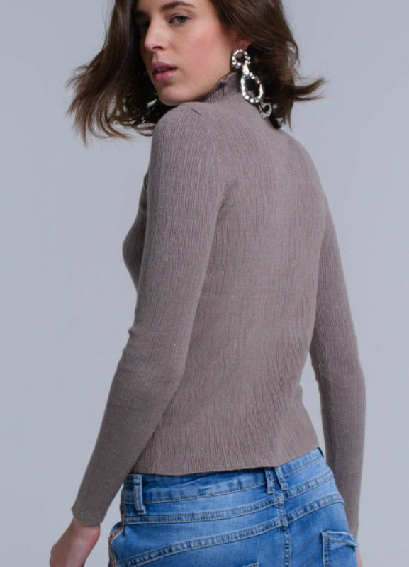 Back view of Lady wearing stone grey Lurex textures top with high neck - LB Boutique