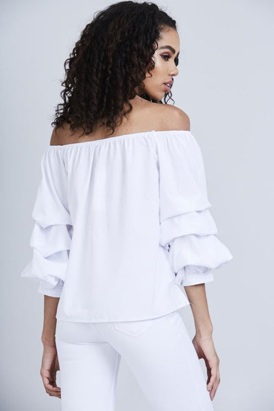 back view of lady wearing white Ruffle sleeve off the shoulder top - LB Boutique