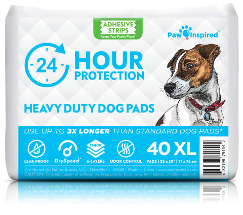 40ct Paw Inspired Heavy Duty 24hr Protection Extra Large Adhesive Puppy Pads