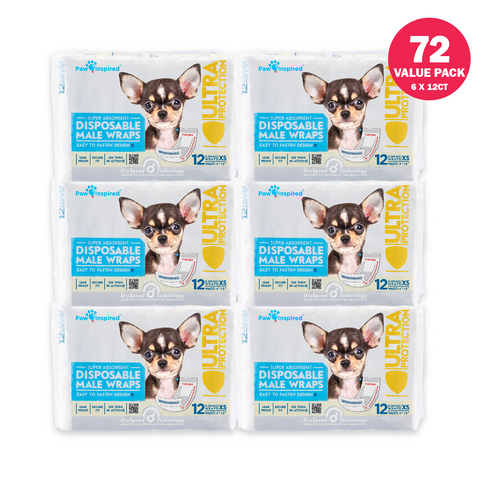 72ct Paw Inspired Ultra Protection Disposable Male Wraps  (Belly Bands) Bulk, X-Small