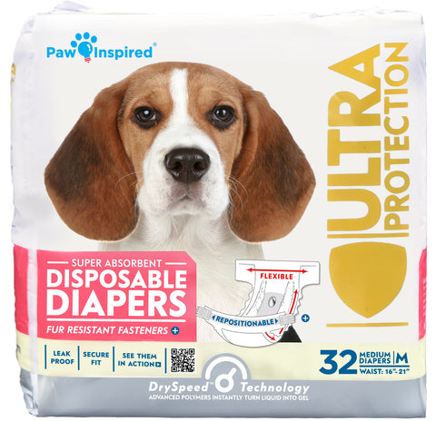 32ct Paw Inspired Ultra Protection Female Disposable Dog Diapers, Medium