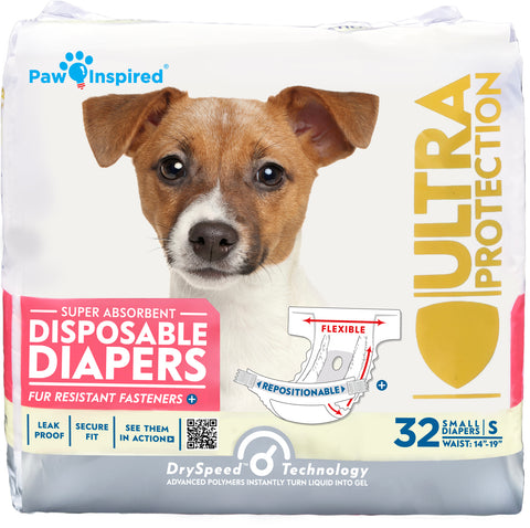 32ct Paw Inspired Ultra Protection Female Disposable Dog Diapers, Small