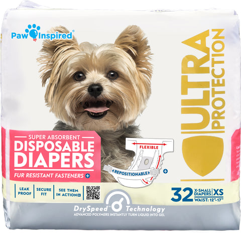 32ct Paw Inspired Ultra Protection Female Disposable Dog Diapers, Extra Small