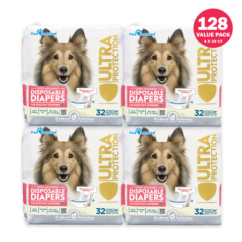 128ct Paw Inspired Ultra Protection Female Disposable Dog Diapers, Medium Plus