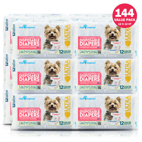 144ct Paw Inspired Ultra Protection Female Disposable Dog Diapers, Extra Small