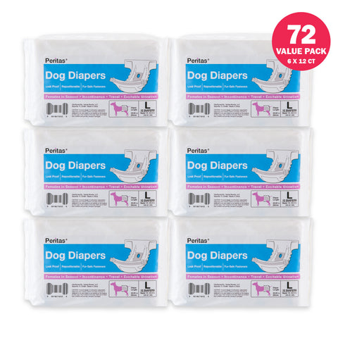 72ct Peritas Female Disposable Dog Diapers, Large