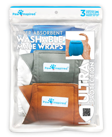 3ct Paw Inspired Ultra Protection Washable Male Wraps, Reusable Belly Bands, Medium