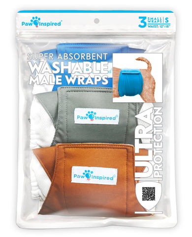 3ct Paw Inspired Ultra Protection Washable Male Wraps, Reusable Belly Bands, Small