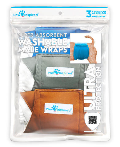 3ct Paw Inspired Ultra Protection Washable Male Wraps, Reusable Belly Bands, Extra Small
