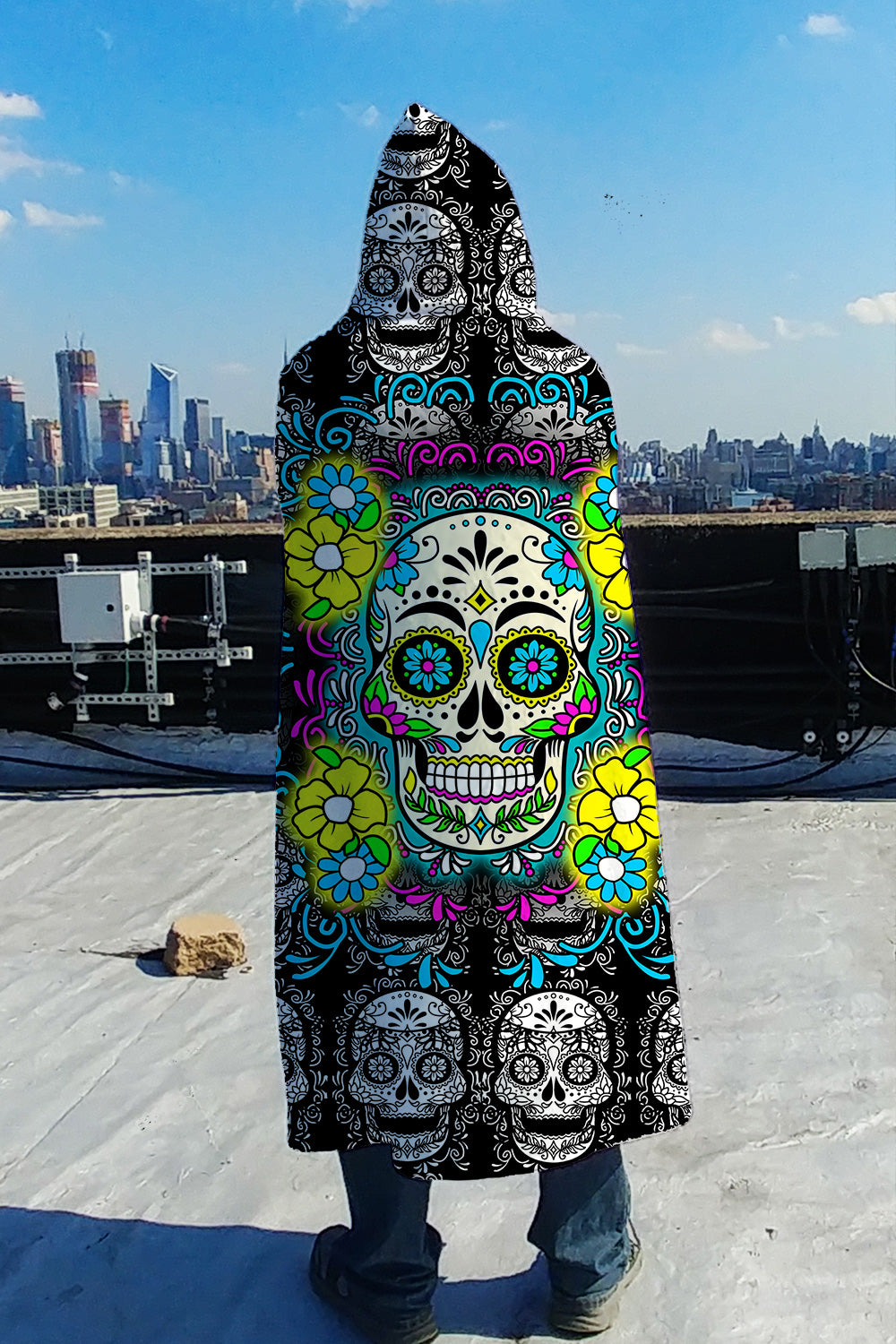 Sugar Skull All Over Print Hooded Blanket Fabric Squad
