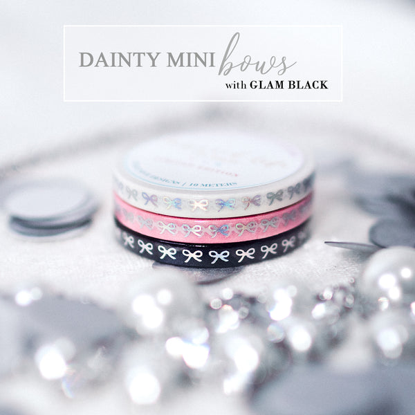 {GLAM BLACK} Dainty Mini Bows 5mm Washi Set {1 per person/household}