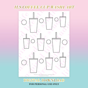 Coffee Cup Washi Art Printable