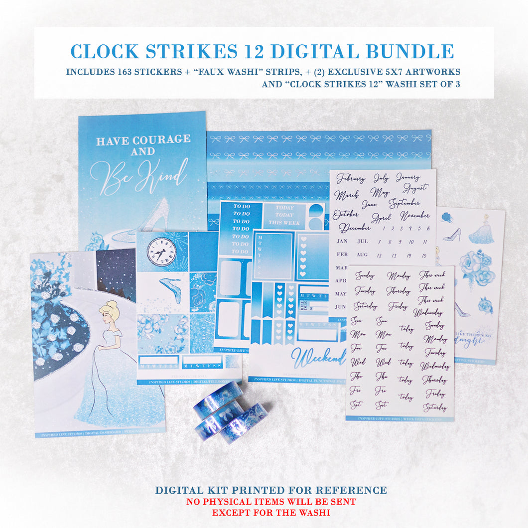 Clock Strikes 12 | DIGITAL + WASHI BUNDLE