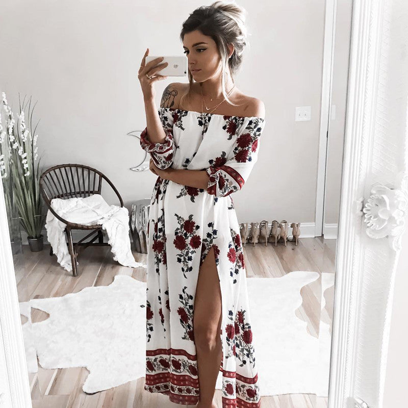 Side-slit Off Shoulder Floral Dress