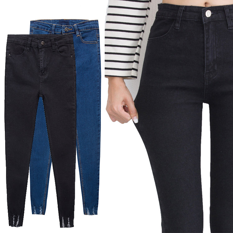 Trendy High Waist Bottom Ripped Jeans