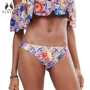 Floral Off Shoulder Bandeau Ruffled Bathing Suit
