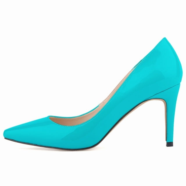 Leather Fashion Pointed Toe High Heels