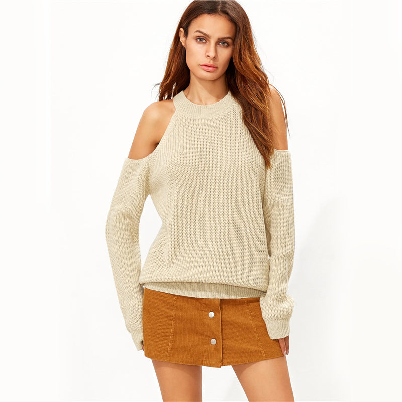 Cold Shoulder Knitted Apricot Sweater