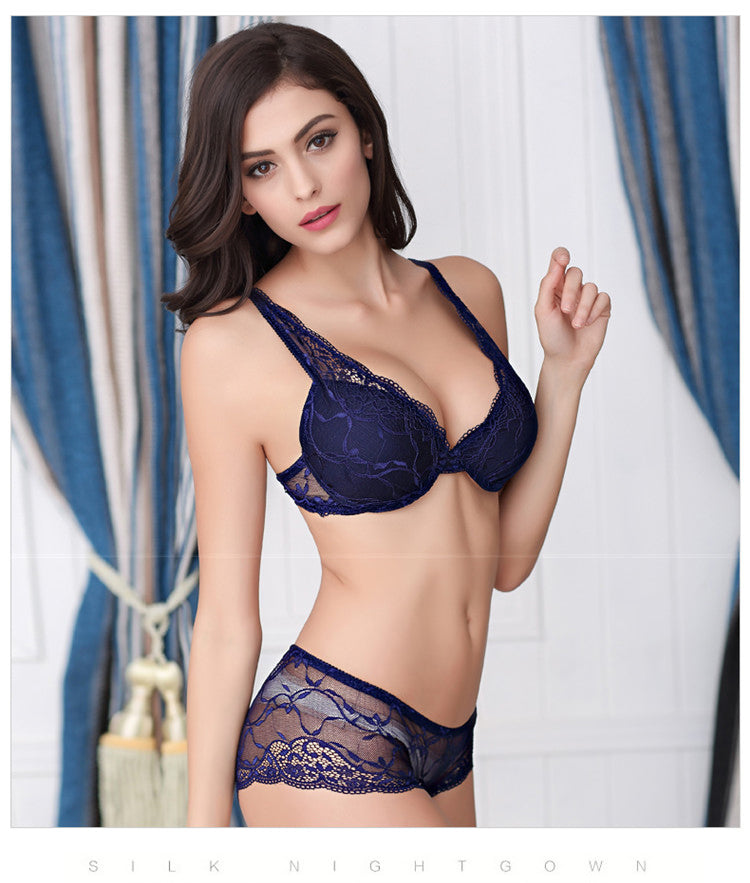 Deep V-Neck Push Up Bra And Panty Set Lace Bra Sexy Women Underwear Set Lady Underclothe WineRed/Blue/Black/Nude/White