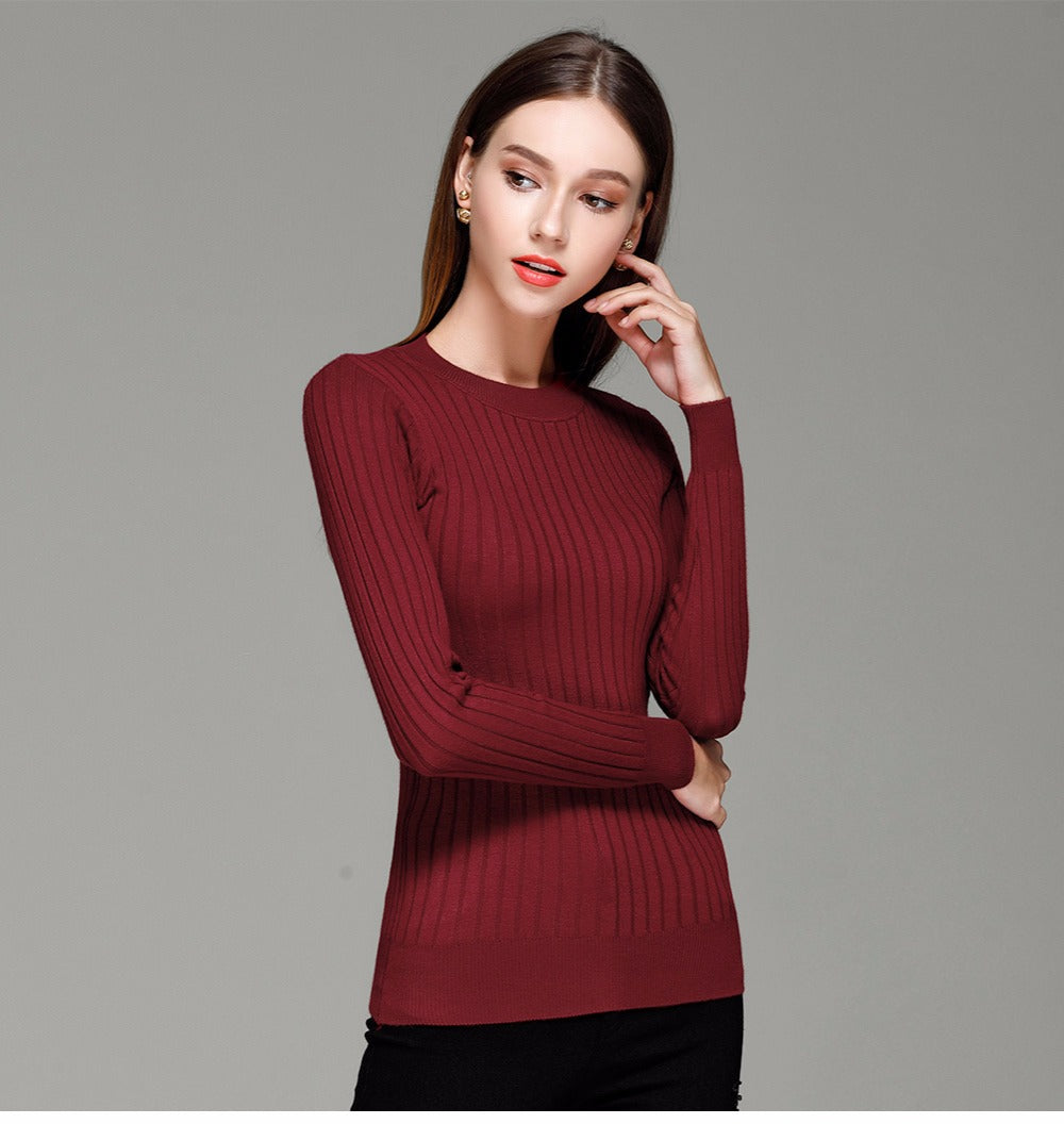 Gayle - O-neck Side Slit Knitted Sweater (12 Reviews)