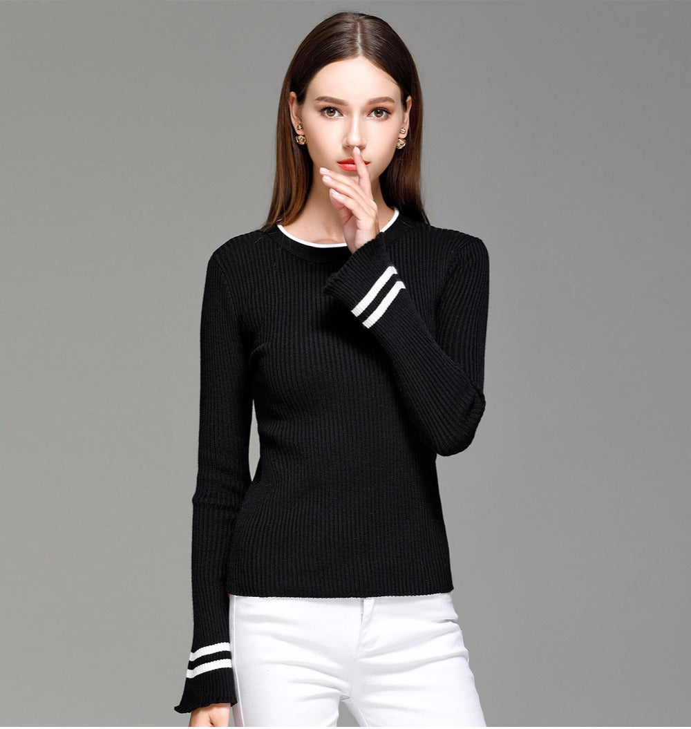 Hester - Striped Flare Sleeve Pullover (32 Reviews)