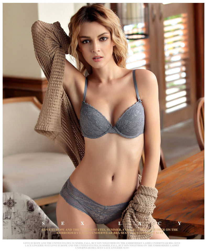 Embroidery Lace Bra and Briefs Deep V Sexy Bra Sets Ladies Underwear Comfortable Soft Thin Cotton Cup