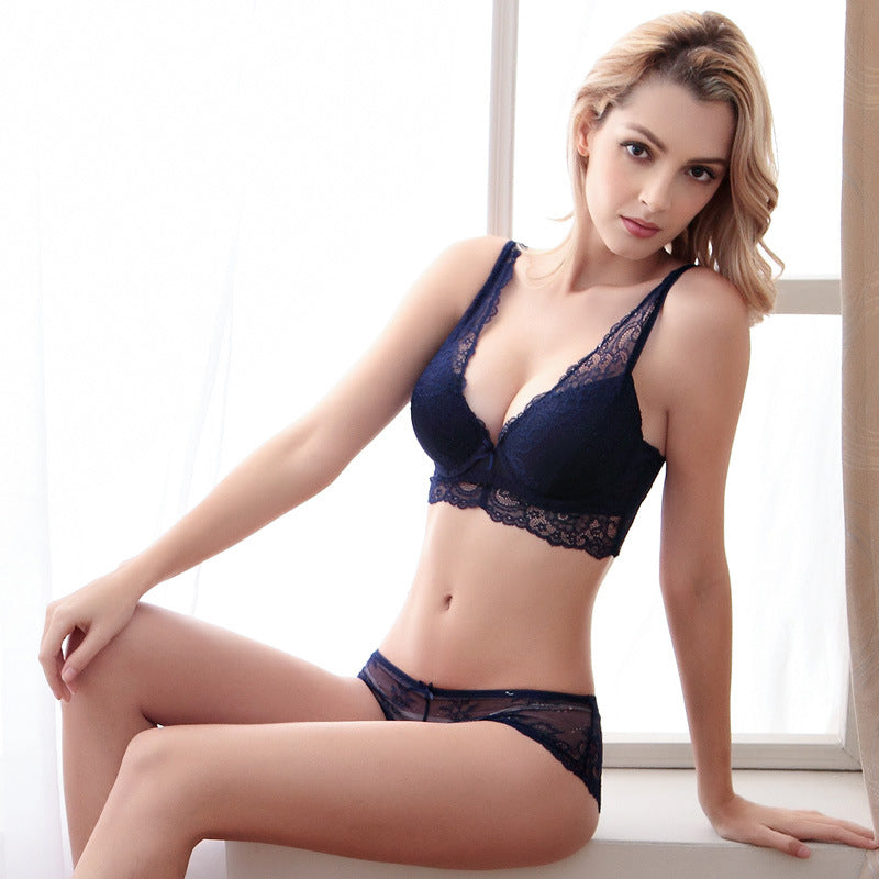 Lace Bra And Panty Noble Gather Underwear Set Deep V Push Up Bra Pack Abdominal Curl Brassiere Set