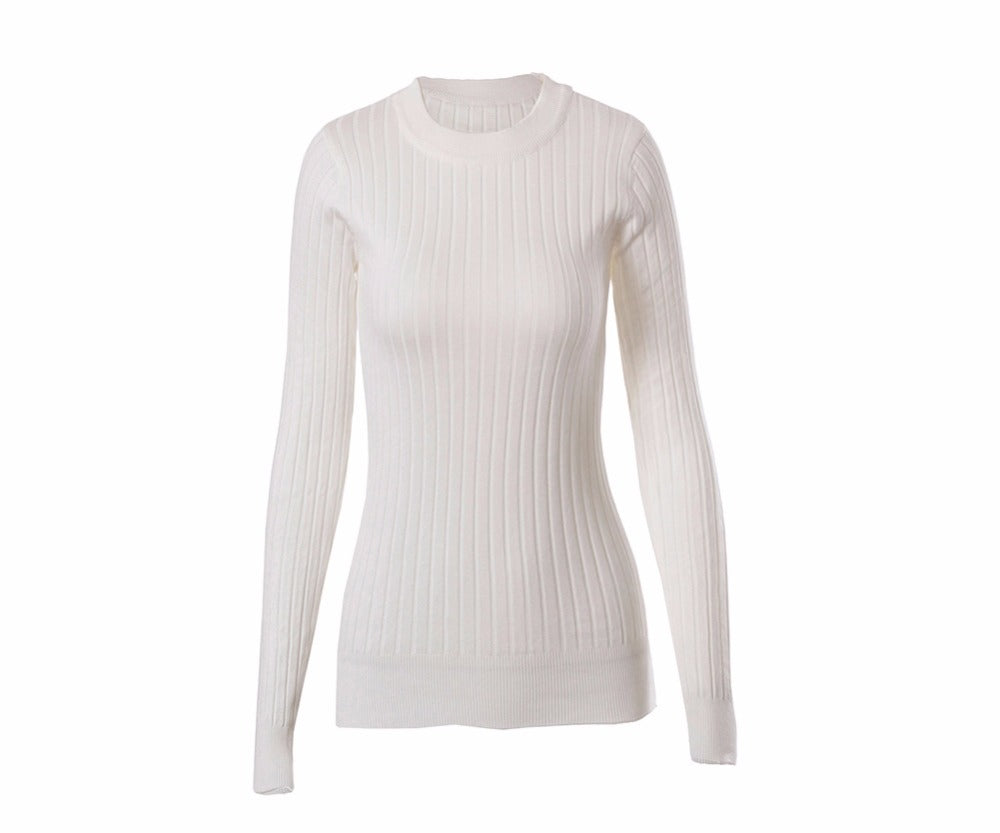 Gayle - O-neck Side Slit Knitted Sweater