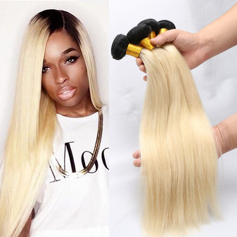 Top Quality Ombre Two Tone Blonde Hair Weave Straight With 4x4