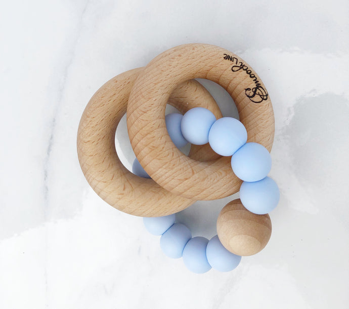 Double ring wood and silicone rattle-baby blue