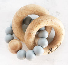 Load image into Gallery viewer, Double ring wood and silicone rattle in grey