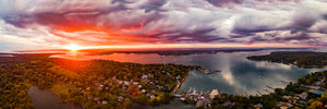 Best Heights and Dering Harbor Fall Storm Clouds Panoramic Print