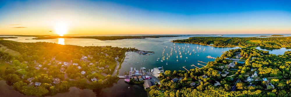 Heights and Dering Harbor Summer Sunset Panoramic