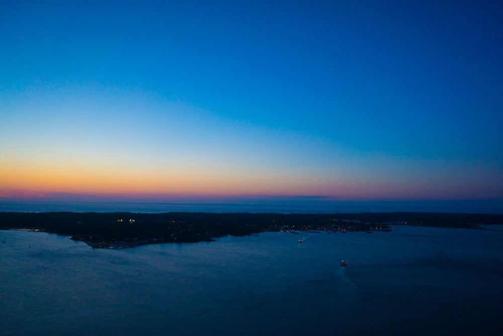 Dusk Over North Fork with Ferry, Greenport, NY
