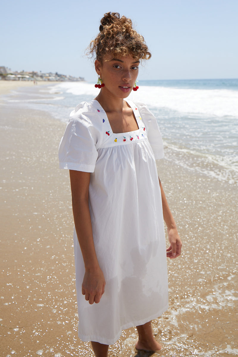 Throw Over Beach Dress W. Fruit Embroidery
