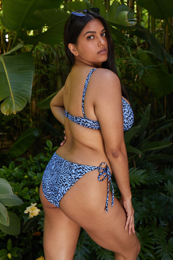 Pale Blue Tiger Side Tie Bikini Bottoms