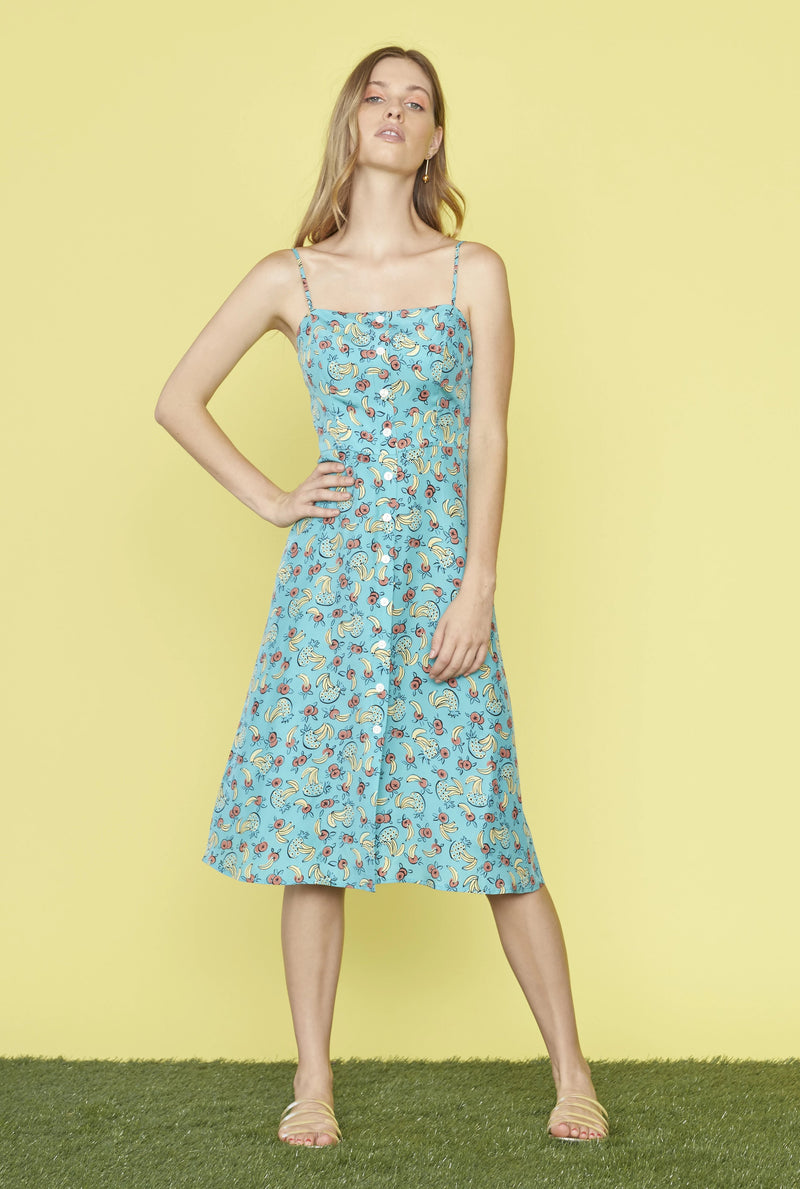 Turquoise Tropical Fruit Atlanta Button Front Dress