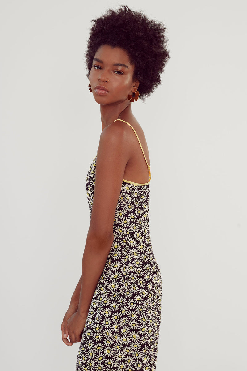 Black Daisy Susan Round Neck Slip Dress
