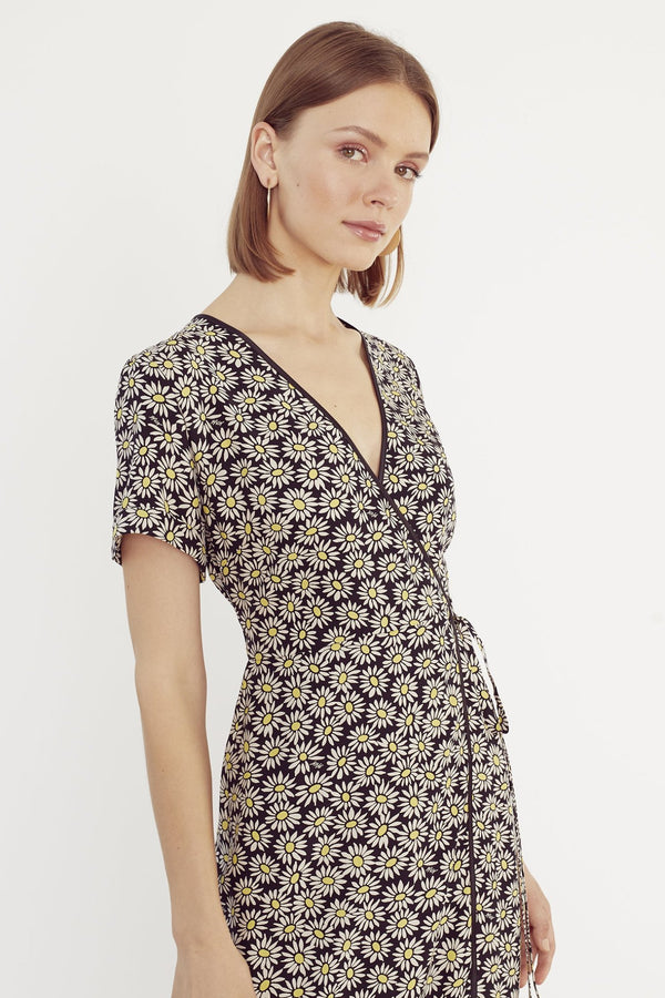 Black Daisy Vera Wrap Dress