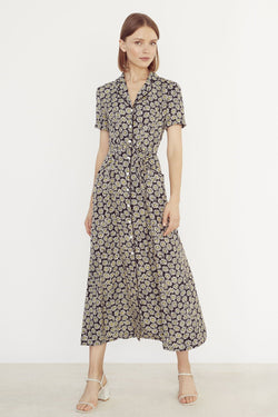 Black Daisy Long Maria Dress