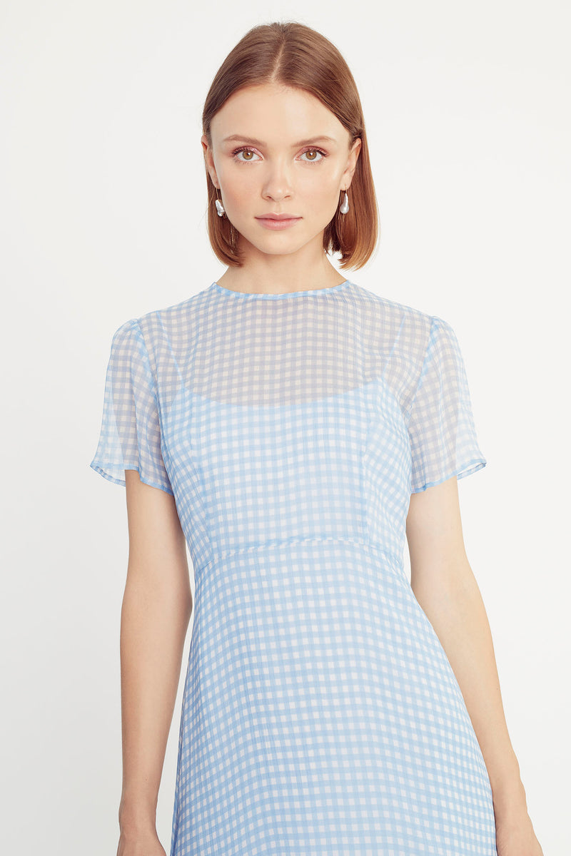 Blue Gingham Lindy Silk Chiffon Dress W. Slip