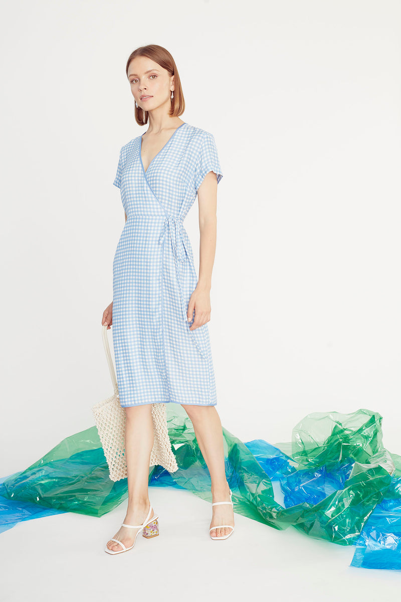 Blue Gingham Vera Wrap Dress