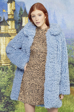 Curly Blue Courtney Faux Shearling Coat
