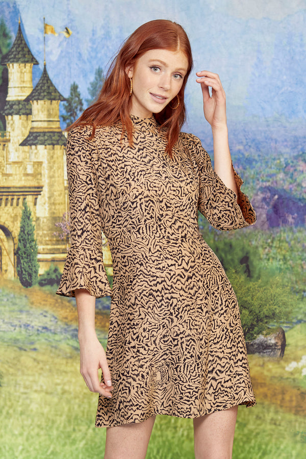 Brown Tiger Mini Ashley Dress